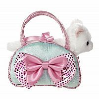 Aurora World Fancy Pals Toy Pet Carrier Plush Purse Blue Bows