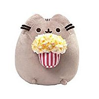 "GUND Pusheen Snackable Popcorn Cat Plush Stuffed Animal 9.5"", Gray"