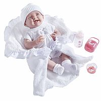 JC Toys –La Newborn Soft Body Realistic Baby Doll Deluxe Gift Set with Bunting and Accessories, White